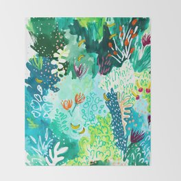 Twice Last Wednesday: Abstract Jungle Botanical Painting Throw Blanket