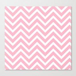 Chevron Stripes : Pink & White Canvas Print