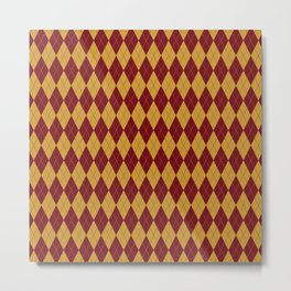Geometric burgundy yellow orange diamond shapes stripes Metal Print