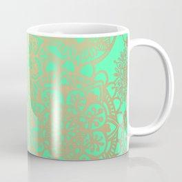 Spring Green and Gold Mandala Pattern Coffee Mug