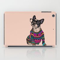 frenchie iPad Cases featuring hipster frenchie by Huebucket