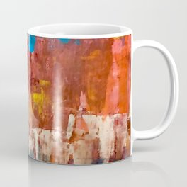 Desert Sun [5]: A bright, bold, colorful abstract piece in warm gold, red, yellow, purple and blue Coffee Mug