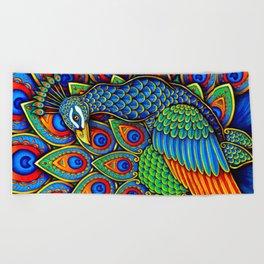 Colorful Paisley Peacock Rainbow Bird Beach Towel
