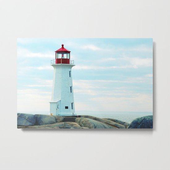 Old Lighthouse, Blue Ocean Metal Print