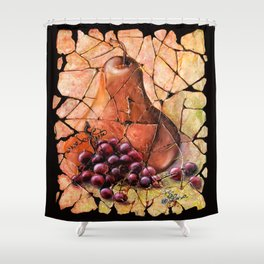 Pear and Grapes Fresco Shower Curtain