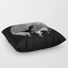 Biker t rex In Sky With Moon 80s Parody Floor Pillow