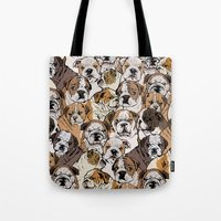 english bulldog Tote Bags featuring Social English Bulldog by Huebucket