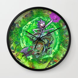 Rick & M - Dungeons and Dragons Comic Collage Portal Comic Book Art Wall Clock