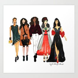 Glam Girls, Pinales Illustrated Art Print