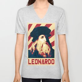 Leonardo Da Vinci Retro Propaganda Unisex V-Neck
