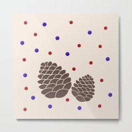Pine cones and berries Metal Print