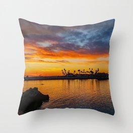 Lone Paddler at Sunset Throw Pillow