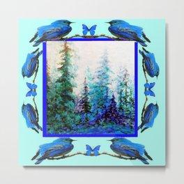 BLUE BUTTERFLIES BLUE BIRDS BLUE FOREST ART Metal Print