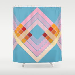 Colorful Summer Sun Retro Style Stripes Epona Shower Curtain