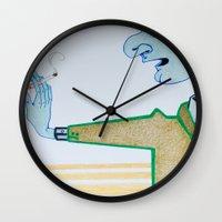 cigarette Wall Clocks featuring Cigarette by Grant Czuj