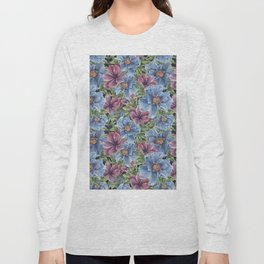 Hibiscus Flowers on Chalkboard Long Sleeve T-shirt