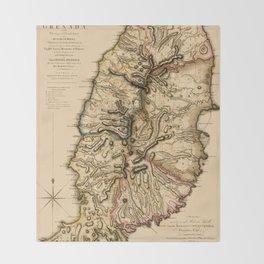 Map Of Grenada 1780 Throw Blanket