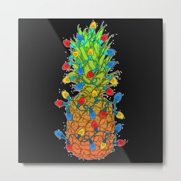 Pineapple Christmas Lights II Metal Print