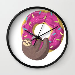 Cute sloth hanging from the donut Wall Clock