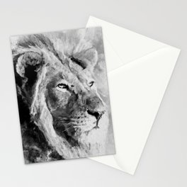 Lion Black and White  Mixed Media Digital Art Stationery Cards