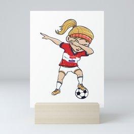 Dabbing Soccer Player Funny Croatia Fan product girl Mini Art Print
