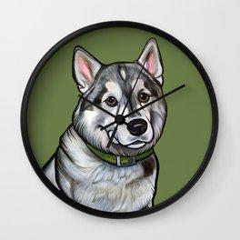 Aspen the Husky Wall Clock