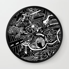doodle illustration Wall Clock