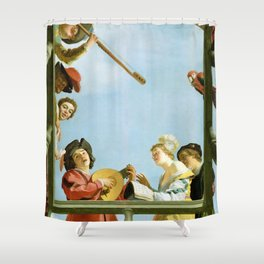 Gerard van Honthorst - Musical Group on a Balcony Shower Curtain