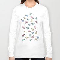 airplanes Long Sleeve T-shirts featuring Paper Planes in Pastel by Tangerine-Tane