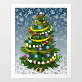 Christmas tree & snow Art Print