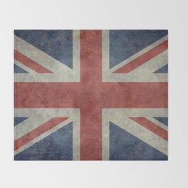 UK Flag, Dark grunge 1:2 scale Throw Blanket