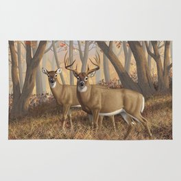 Whitetail Deer Trophy Buck and Doe in Autumn Rug