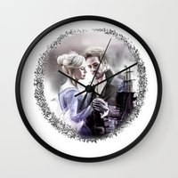 captain swan Wall Clocks featuring Captain Swan by Clara J Aira