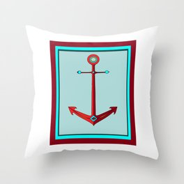 An Anchor in Maroon and Sea Foam Blue, Nautical Throw Pillow