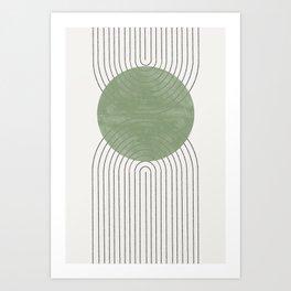 Green Moon Shape Art Print