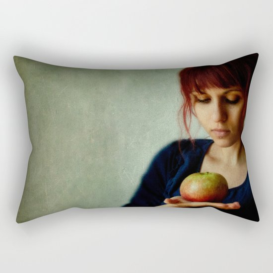 the girl with the apple Rectangular Pillow