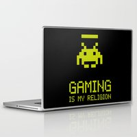 gaming Laptop & iPad Skins featuring Gaming is my religion by Lily's Factory