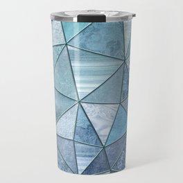 Blue Aqua Glamour Shiny Precious Patchwork Travel Mug