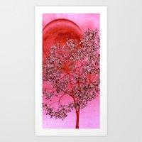 tree under red moon Art Print