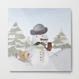 Winter Wonderland - Funny Snowman and friends - Watercolor illustration III Metal Print