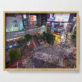 Crowd walking across Shibuya crossing in Tokyo, Japan Serving Tray