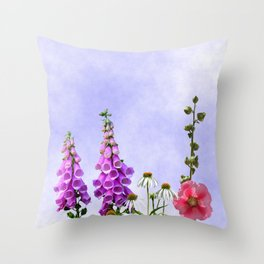 Summer flowers against a blue sky Throw Pillow