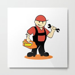 Cartoon handyman with tools Metal Print