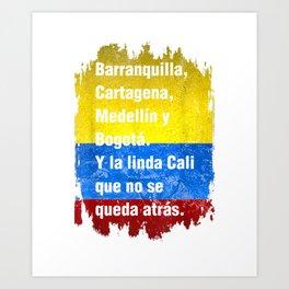 Barranquilla Cartagena Medellin y Bogota Cali Colombian Flag T-Shirt Art Print