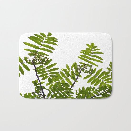New Green Leaves Of A Rowan  Bath Mat