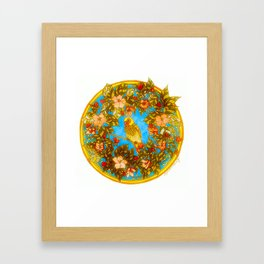 Colourful Yellow Parakeet In Flowery Wreath Framed Art Print