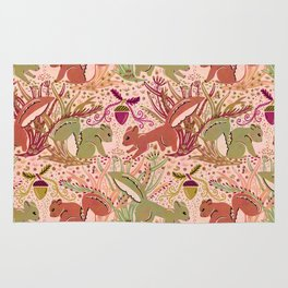 Squirrel in Woodland Fern Forest , Cute Squirrels Love hidden among the Acorn Nuts & Plants Rug