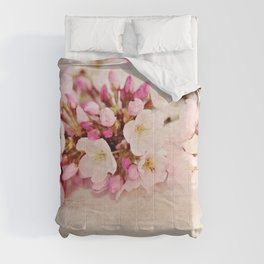 cherry blossoms with typography Comforters