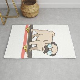 Pug Dog Skater Skateboarding Funny Gifts Rug