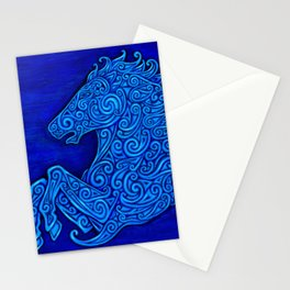 Blue Celtic Horse Abstract Spirals Stationery Cards